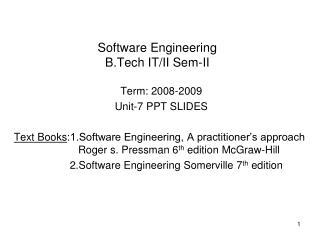 Software Engineering B.Tech IT/II Sem-II