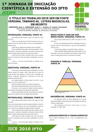 O T�TULO DO TRABALHO DEVE SER EM FONTE  VERDANA, TAMANHO 66,  LETRAS MAI�SCULAS, EM NEGRITO