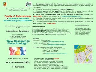 University of Agronomical Sciences and Veterinary Medicine Bucharest Faculty of  Biotechnology