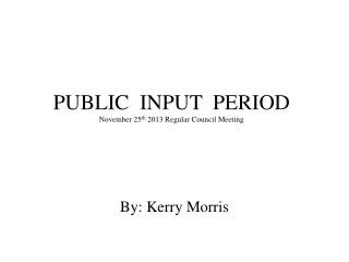 PUBLIC  INPUT  PERIOD November 25 th  2013 Regular Council Meeting