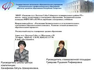 Руководитель школы-центра компетенции: Ханафиева Айгуль Шакирзяновна.