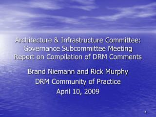Brand Niemann and Rick Murphy DRM Community of Practice April 10, 2009
