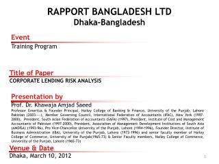 RAPPORT BANGLADESH LTD  Dhaka-Bangladesh