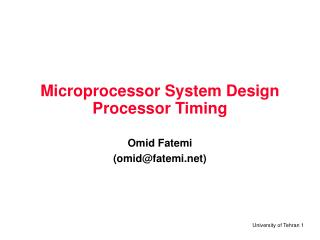 Microprocessor System Design Processor Timing