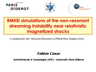 RMHD simulations of the non-resonant streaming instability near relativistic magnetized shocks