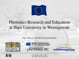 Photonics Research and Education at Harz University in Wernigerode