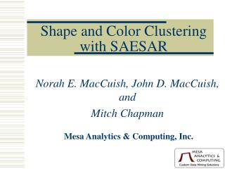 Shape and Color Clustering  with SAESAR