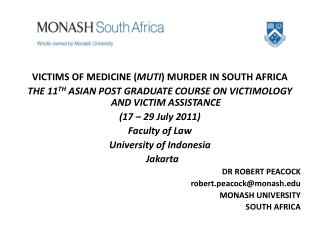 VICTIMS OF MEDICINE MURDER IN SOUTH AFRICA-Robert Peacock