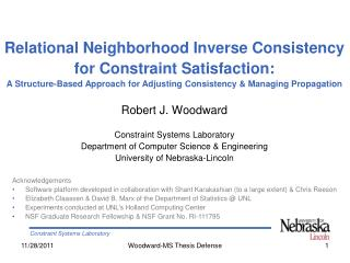 Robert J. Woodward Constraint Systems Laboratory Department of Computer Science & Engineering