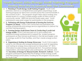 Youth Green Jobs/Energy Audit Training Program Sharing What We've Learned With Our Community