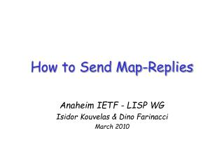 How to Send Map-Replies