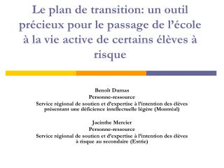 Benoît Dumas Personne-ressource