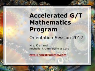 Accelerated G/T Mathematics Program