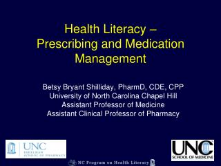 Health Literacy –  Prescribing and Medication Management
