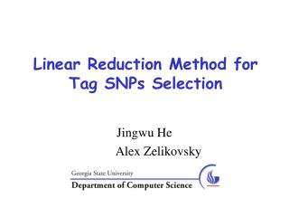 Linear Reduction Method for Tag SNPs Selection