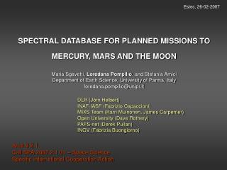 SPECTRAL DATABASE FOR PLANNED MISSIONS TO MERCURY, MARS AND THE MOON