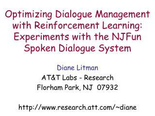 Diane Litman AT&T Labs - Research Florham Park, NJ  07932 research.att/~diane