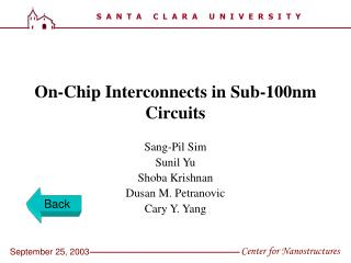 On-Chip Interconnects in Sub-100nm Circuits
