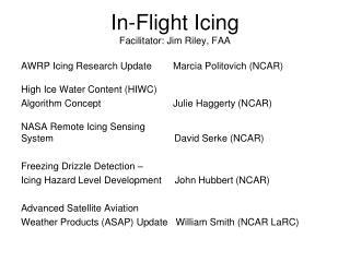 In-Flight Icing Facilitator: Jim Riley, FAA