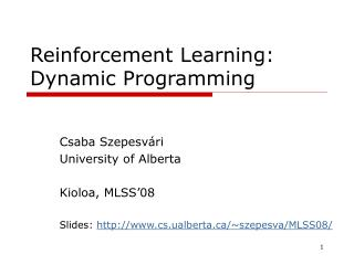Reinforcement Learning : Dynamic Programming