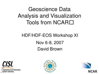 Geoscience Data  Analysis and Visualization  Tools from NCAR