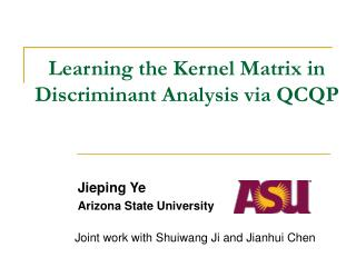 Learning the Kernel Matrix in Discriminant Analysis via QCQP