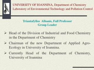 UNIVERSITY OF IOANNINA, Department of Chemistry