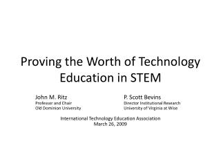 Proving the Worth of Technology Education in STEM