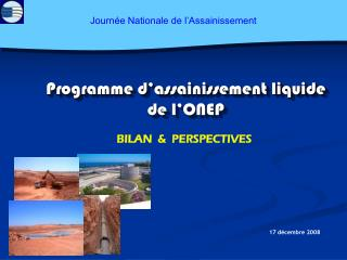 Programme d'assainissement liquide de l'ONEP