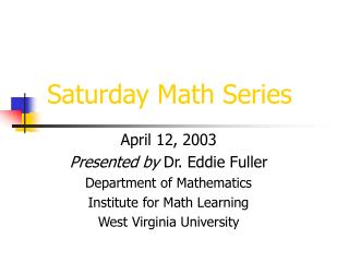 Saturday Math Series