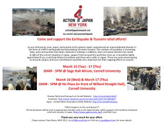 Come and support the Earthquake & Tsunami relief efforts!