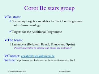 Corot Be stars group