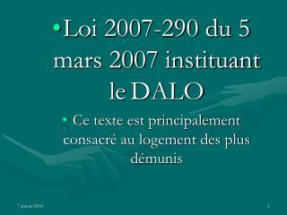 Loi 2007-290 du 5 mars 2007 instituant le DALO