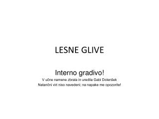 LESNE GLIVE