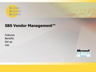 SBS Vendor Management