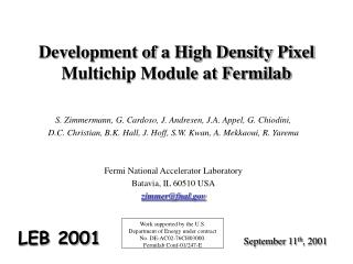 Development of a High Density Pixel Multichip Module at Fermilab