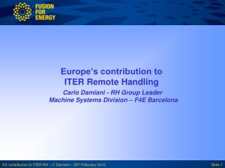 Europe's contribution to ITER Remote Handling
