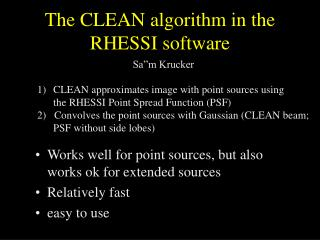 The CLEAN algorithm in the RHESSI software