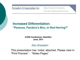 Increased Differentiation:  �Panacea, Pandora�s Box, or Red Herring?�