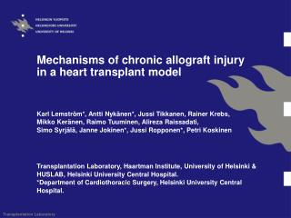 Mechanisms of chronic allograft injury in a heart transplant model