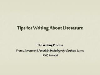 Tips for Writing About Literature