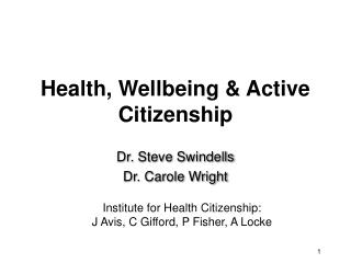 Health, Wellbeing & Active Citizenship