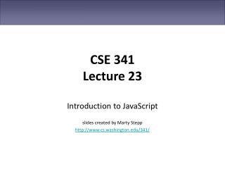 CSE 341 Lecture 23