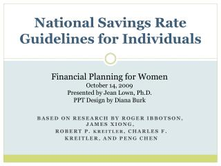 National Savings Rate Guidelines for Individuals