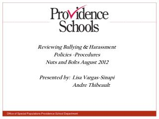 Reviewing Bullying & Harassment Policies -Procedures  Nuts and Bolts August 2012