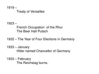 1919 –  	Treaty of Versailles 1923 –  	French Occupation  of the Rhur 	The Beer Hall Putsch