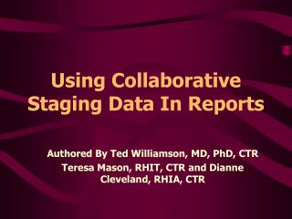 Using Collaborative Staging Data In Reports