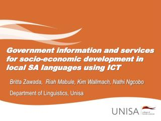 Government information and services for socio-economic development in local SA languages using ICT