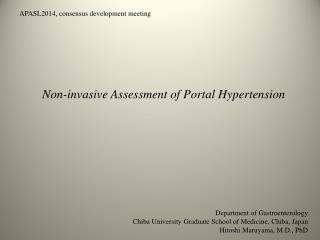 Non-invasive Assessment of Portal Hypertension