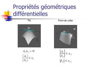 Propriétés géométriques différentielles